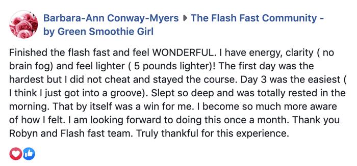Flash Fast testimonial by GreenSmoothieGirl.