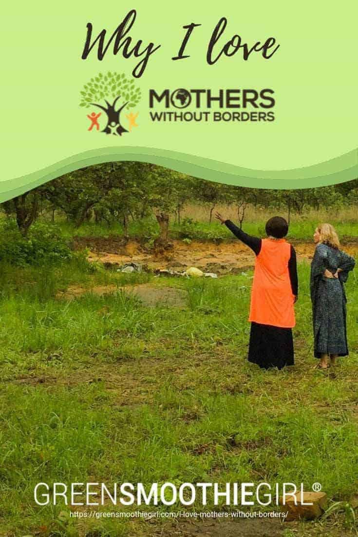 "Photo of African woman pointing and white woman looking with post's title from ""Why I Love Mothers Without Borders, And How We Can Help Them Together"" by Green Smoothie Girl"