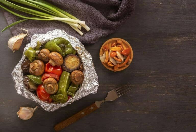 "Photo of veggie dinner in aluminum foil bowl from ""Is Cooking With Aluminum Foil Safe? Why Researchers Say No"" by Green Smoothie Girl"