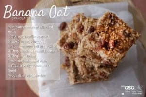 "Photo of banana oat granola bars with recipe text from ""15 Ways to Use Sprouted Flaxseed"" by Green Smoothie Girl"