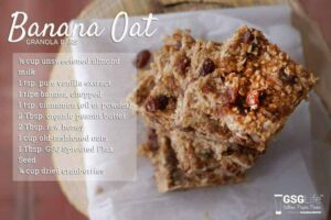 Photo of banana oat granola bars with recipe text from