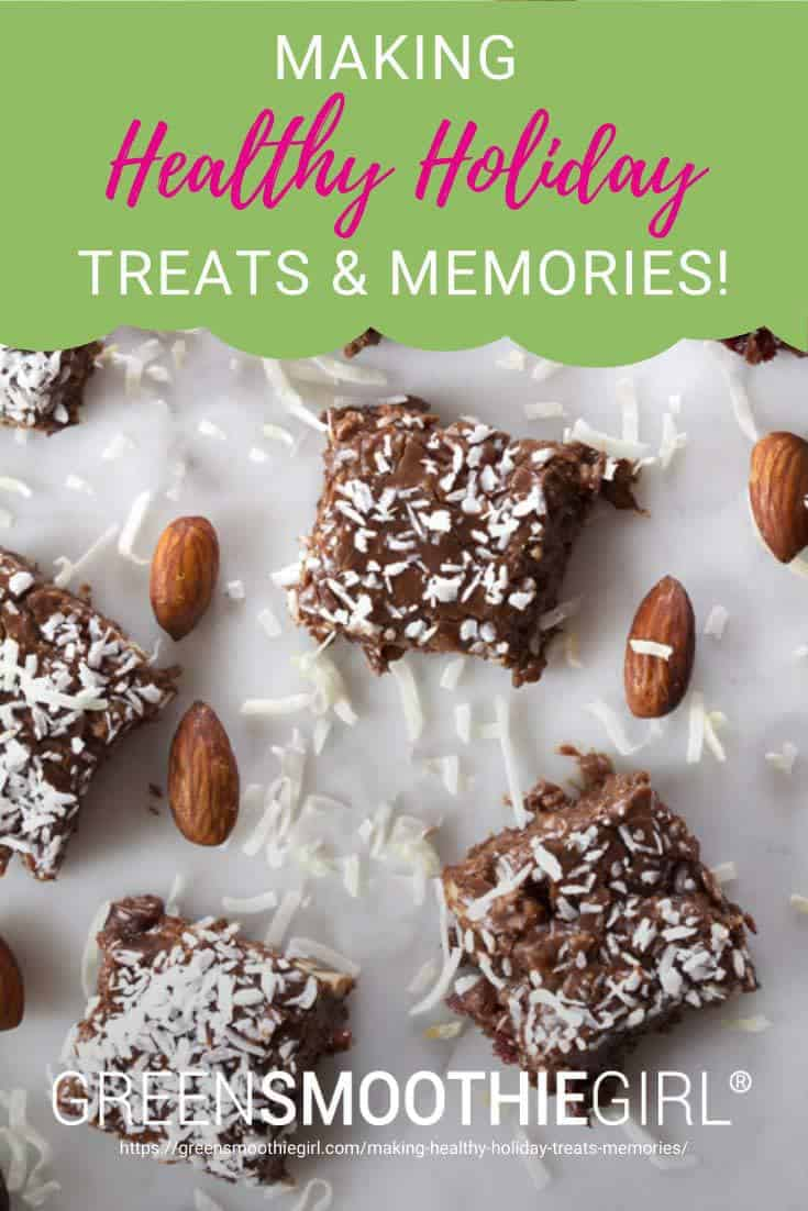 "Photo of chocolate almond fudge with almonds and coconut scattered with post's title text from ""Healthy Holiday Treats"" by Green Smoothie Girl"
