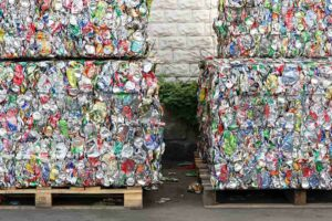 photo of stacked blocks of aluminum cans from