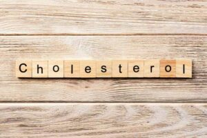 Photo of cholesterol word written in wood blocks from