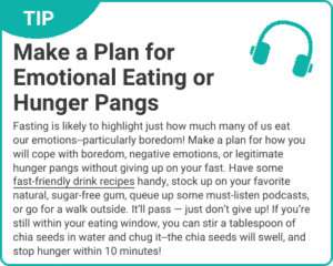 """Graphic of tip """"Make A Plan for Emotional Eating or Hunger Pains"""" from """"3-Day Modified Fasting Eating Plan and Sample 3-Day Menu"""" by Green Smoothie Girl"""