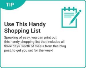 """Graphic of tip """"Use This Handy Shopping List"""" from """"3-Day Modified Fasting Eating Plan and Sample 3-Day Menu"""" by Green Smoothie Girl"""