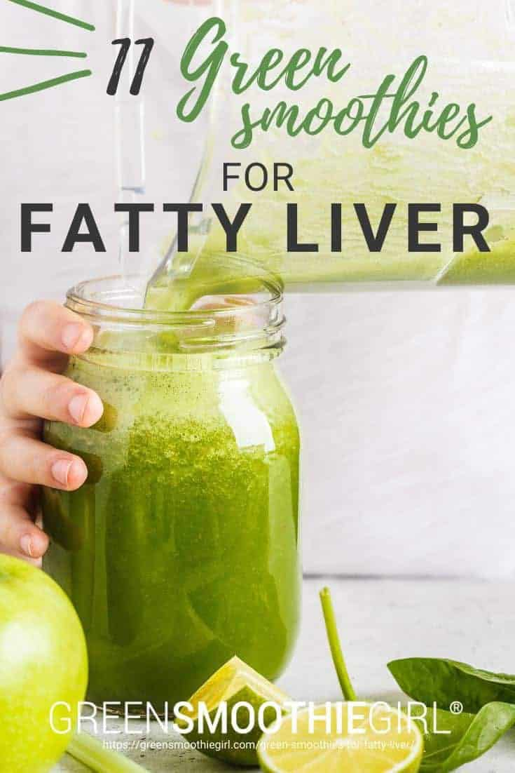 Photo of green smoothie being poured from blender into glass jar held by woman's hand with post's text title text from