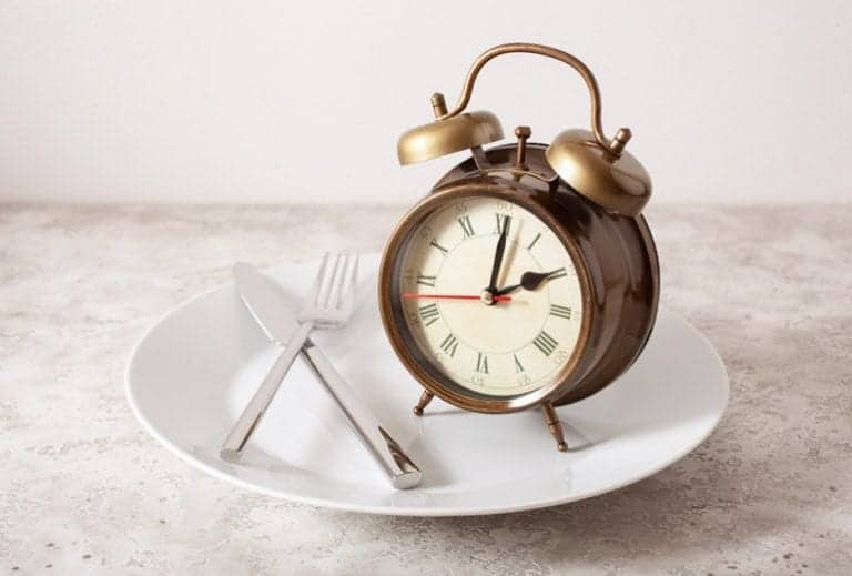 "Photo of fork, knife, and alarm clock on empty plate from ""How To Cycle 3-Day Modified Fasts For Healthy, Sustainable Weight Loss"" blog post by Green Smoothie Girl"