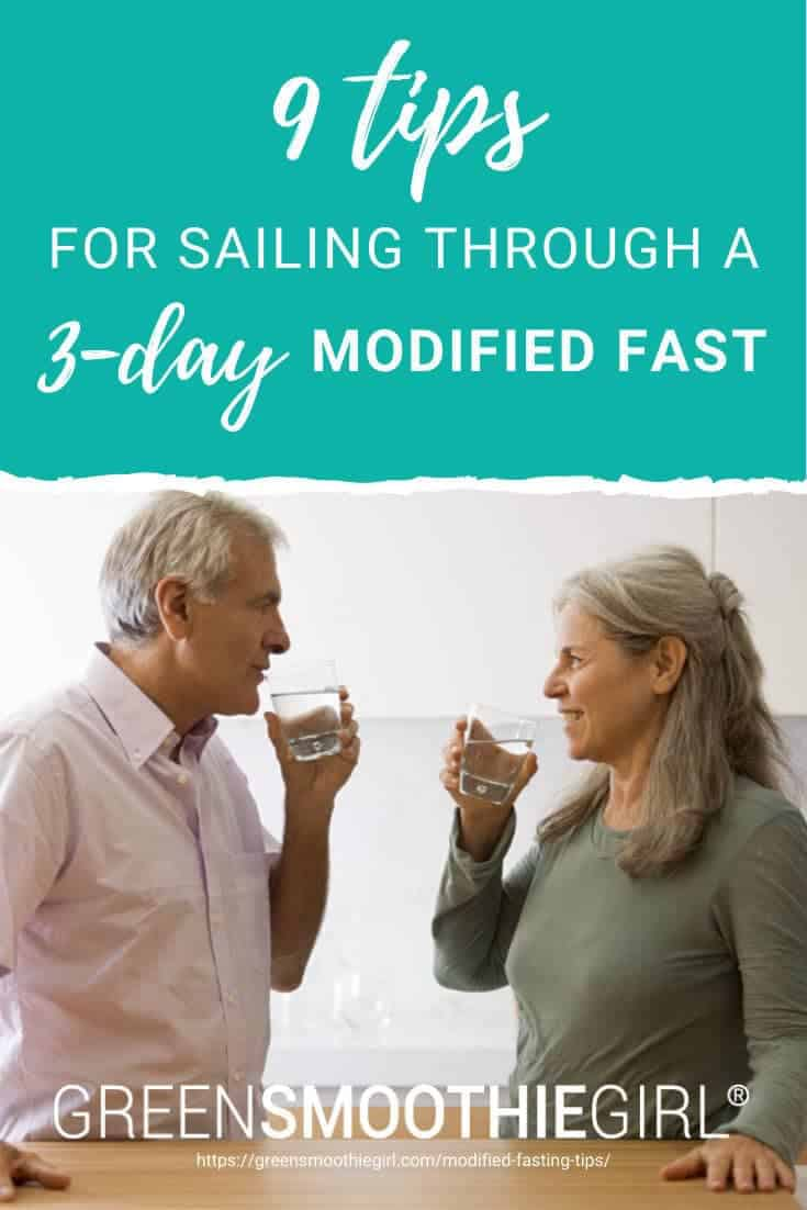 Photo of mature couple smiling at each other and drinking water in kitchen with post's title text overlay from