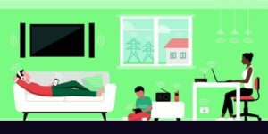 "Graphic of multi-racial family using electronic devices with EMF waves emitting from them from ""Is EMF Making You Sick?"" blog post by Green Smoothie Girl"