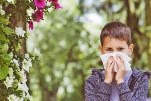 "Photo of young boy near flowers holding tissue to nose and scowling from ""9 Recipes To Treat Seasonal Allergies Naturally With Food"" by Green Smoothie Girl"