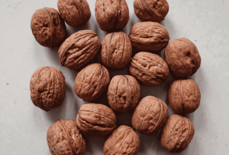 Several walnuts on a gray background