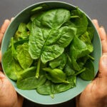 "hands holding a green bowl of spinach with a dark gray background from Green Smoothie Girl's ""9 of the Best Spinach Smoothies — Easy, Delicious, and Healthy"""